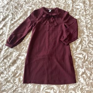 NWOT Maroon long sleeve dress with bow!